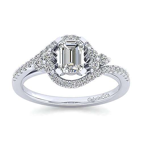 Izzie 14k White Gold Emerald Cut Bypass Engagement Ring angle 5