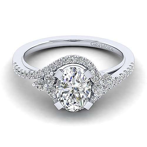 Izzie 14k White Gold Oval Bypass Engagement Ring angle 1