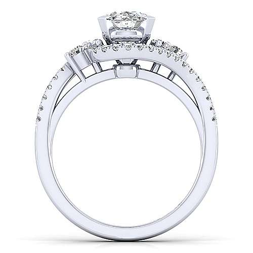 Izzie 14k White Gold Oval Bypass Engagement Ring angle 2