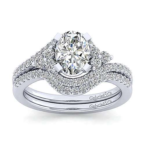 Izzie 14k White Gold Oval Bypass Engagement Ring angle 4