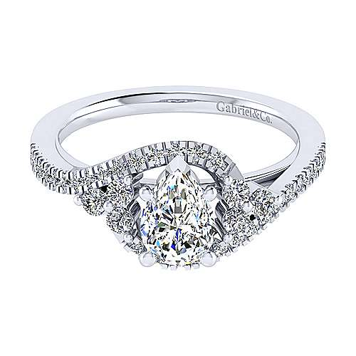 Izzie 14k White Gold Pear Shape Bypass Engagement Ring