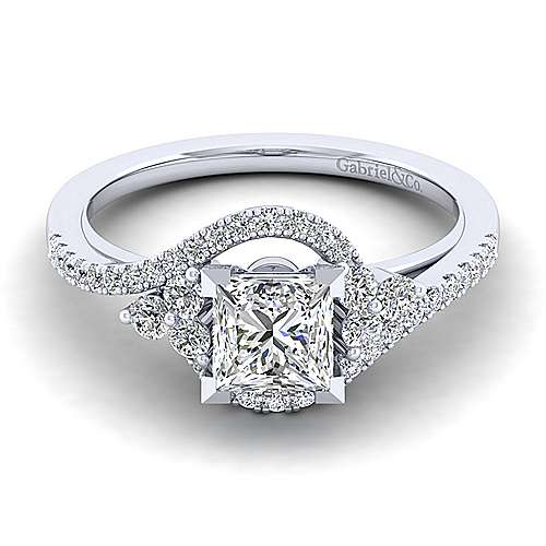 Izzie 14k White Gold Princess Cut Bypass Engagement Ring angle 1