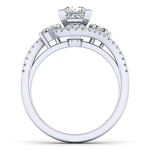 Izzie 14k White Gold Princess Cut Bypass Engagement Ring angle 2