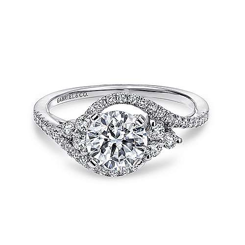 Izzie 14k White Gold Round 3 Stones Engagement Ring angle 1
