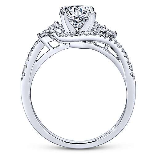 Izzie 14k White Gold Round 3 Stones Engagement Ring angle 2