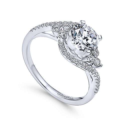 Izzie 14k White Gold Round Bypass Engagement Ring angle 3