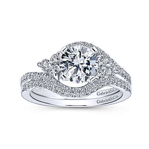 Izzie 14k White Gold Round Bypass Engagement Ring angle 4