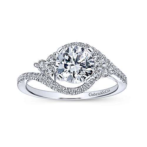 Izzie 14k White Gold Round Bypass Engagement Ring angle 5