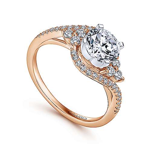Izzie 14k White/pink Gold Round Bypass Engagement Ring angle 3
