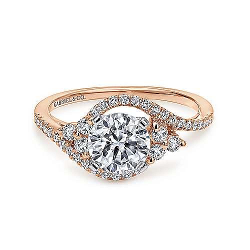 Gabriel - Izzie 14k White/rose Gold Round Bypass Engagement Ring