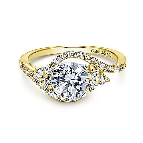Gabriel - Izzie 14k Yellow And White Gold Round Bypass Engagement Ring