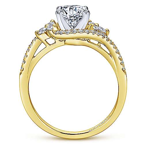 Izzie 14k Yellow And White Gold Round Bypass Engagement Ring angle 2