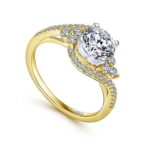 Izzie 14k Yellow And White Gold Round Bypass Engagement Ring angle 3
