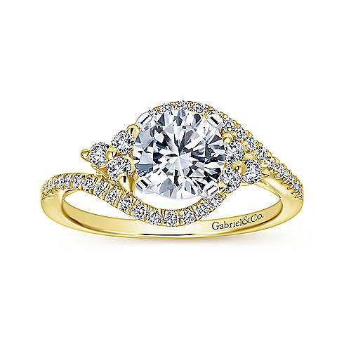 Izzie 14k Yellow And White Gold Round Bypass Engagement Ring angle 5