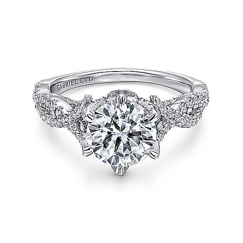 diamond gabriel platinum flared round vintage straight engagement mounting amavida ring products elizabeth rings