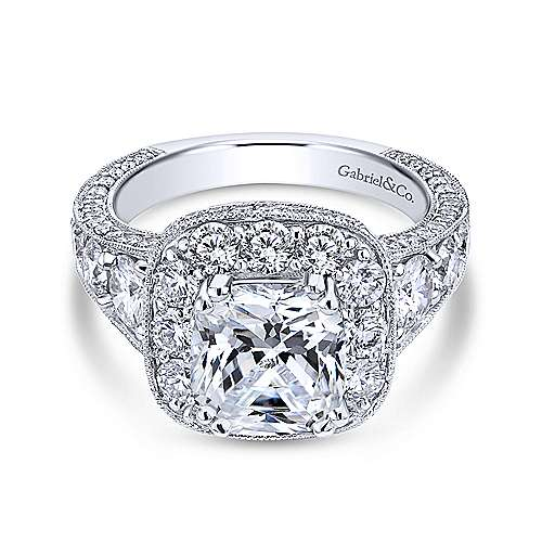 Gabriel - Jackie 18k White Gold Cushion Cut Halo Engagement Ring