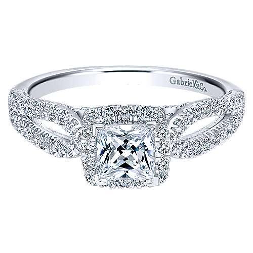 Gabriel - Jackson 14k White Gold Princess Cut Halo Engagement Ring