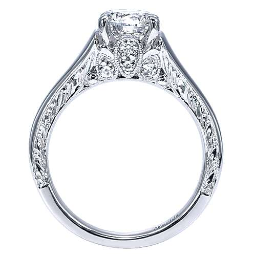 Jacquie 18k White Gold Round Solitaire Engagement Ring angle 2