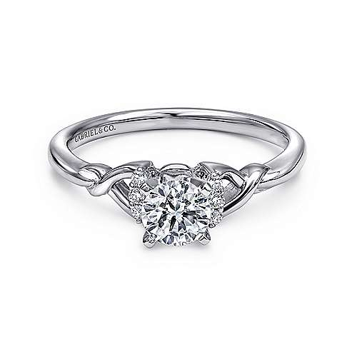 Jaden 14k White Gold Round Twisted Engagement Ring angle 1