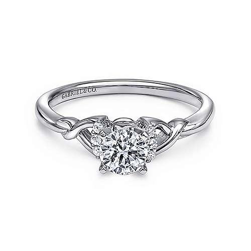 Gabriel - Jaden 14k White Gold Round Twisted Engagement Ring