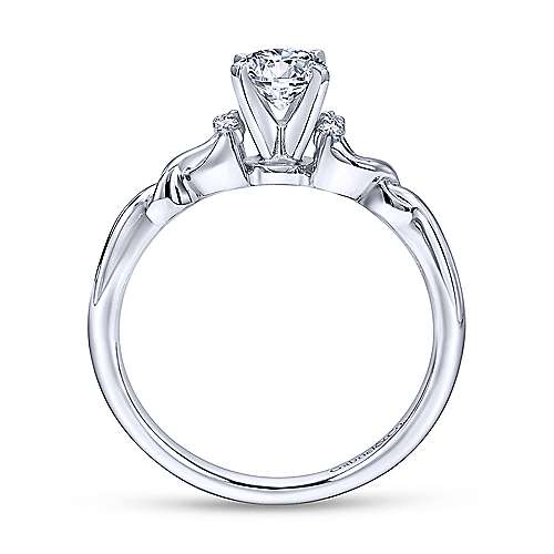 Jaden 14k White Gold Round Twisted Engagement Ring angle 2