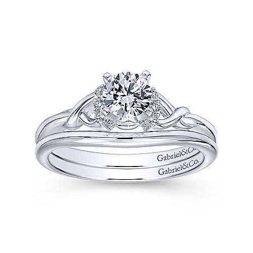 Jaden 14k White Gold Round Twisted Engagement Ring