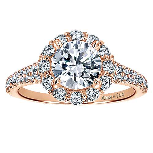 Jaeley 18k Rose Gold Round Halo Engagement Ring angle 5
