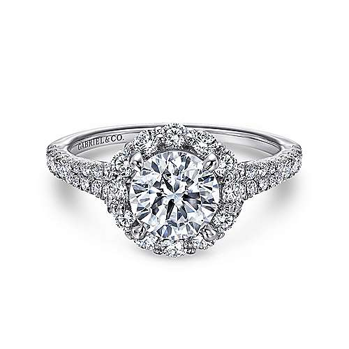 Gabriel - Jaeley 18k White Gold Round Halo Engagement Ring