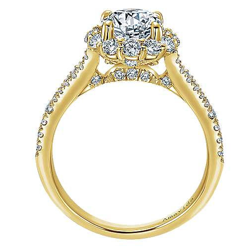 Jaeley 18k Yellow Gold Round Halo Engagement Ring angle 2