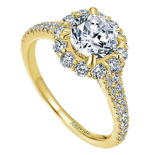 Jaeley 18k Yellow Gold Round Halo Engagement Ring angle 3