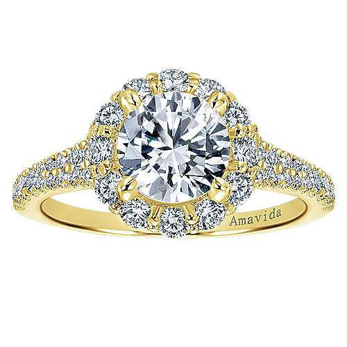 Jaeley 18k Yellow Gold Round Halo Engagement Ring angle 5