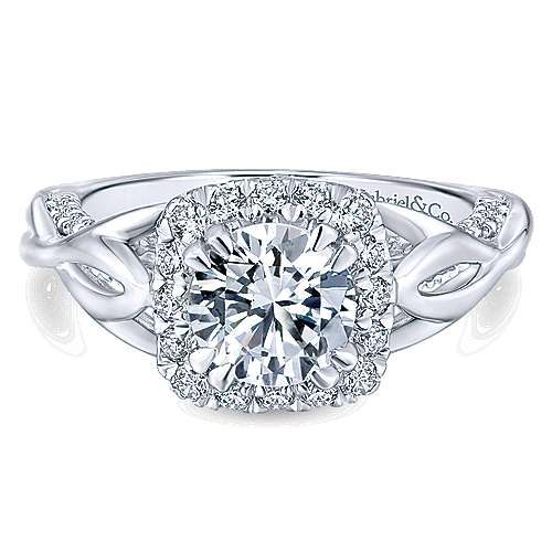 Gabriel - Jakarta 14k White Gold Round Halo Engagement Ring