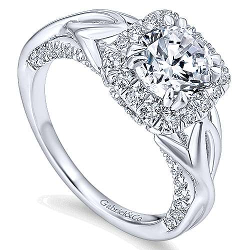 Jakarta 14k White Gold Round Halo Engagement Ring ER12964R4W44JJ