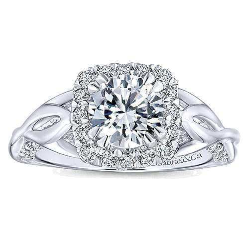 Jakarta 14k White Gold Round Halo Engagement Ring