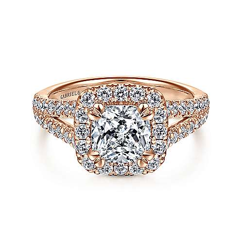 Gabriel - James 14k Rose Gold Cushion Cut Halo Engagement Ring