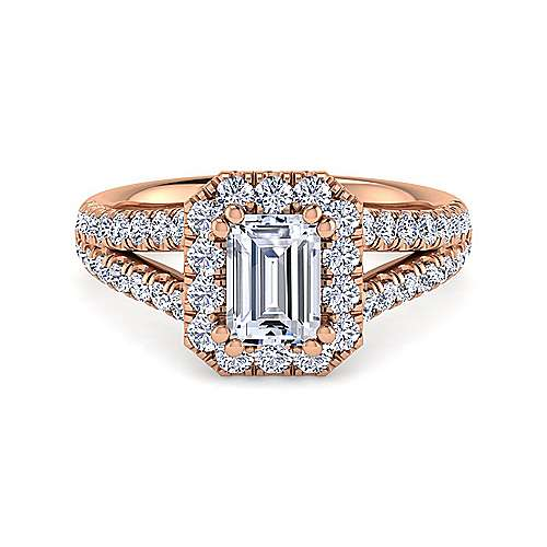 Gabriel - James 14k Rose Gold Emerald Cut Halo Engagement Ring