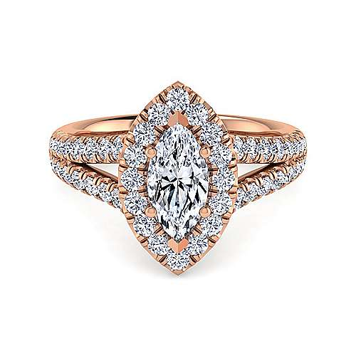 Gabriel - James 14k Rose Gold Marquise  Halo Engagement Ring