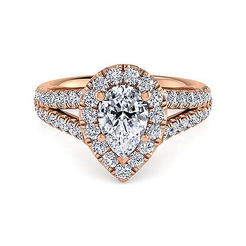 Gabriel - James 14k Rose Gold Pear Shape Halo Engagement Ring