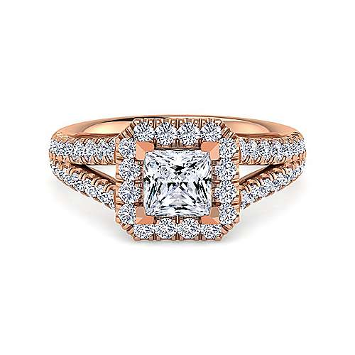 Gabriel - James 14k Rose Gold Princess Cut Halo Engagement Ring