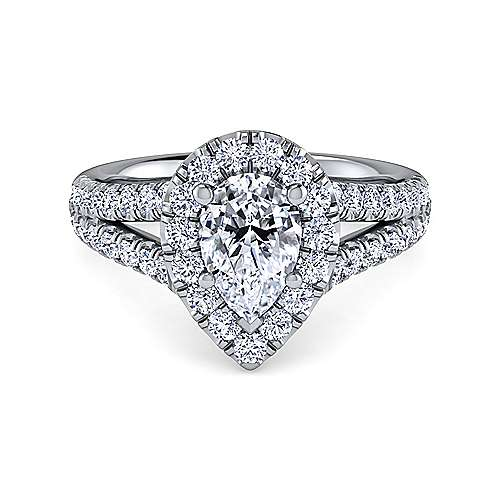Gabriel - James 14k White Gold Pear Shape Halo Engagement Ring