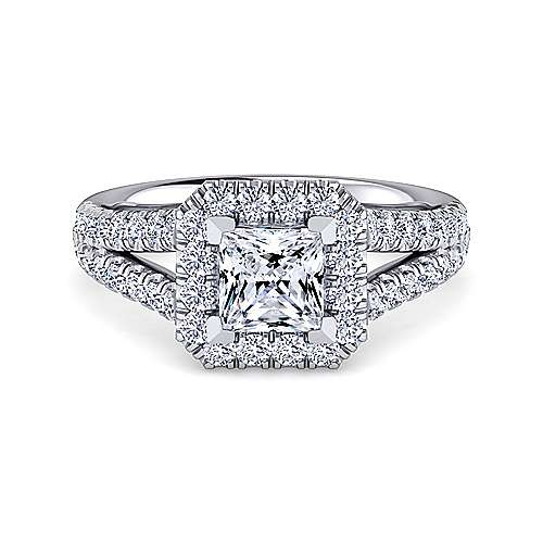 Gabriel - James 14k White Gold Princess Cut Halo Engagement Ring