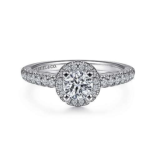 Gabriel - James 14k White Gold Round Halo Engagement Ring