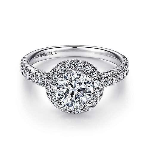 James 14k White Gold Round Halo Engagement Ring angle 1