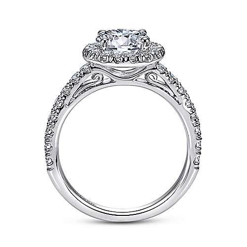 James 14k White Gold Round Halo Engagement Ring angle 2