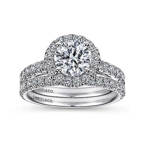 James 14k White Gold Round Halo Engagement Ring angle 4
