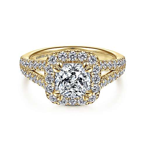 Gabriel - James 14k Yellow Gold Cushion Cut Halo Engagement Ring