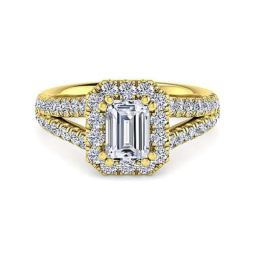 Gabriel - James 14k Yellow Gold Emerald Cut Halo Engagement Ring
