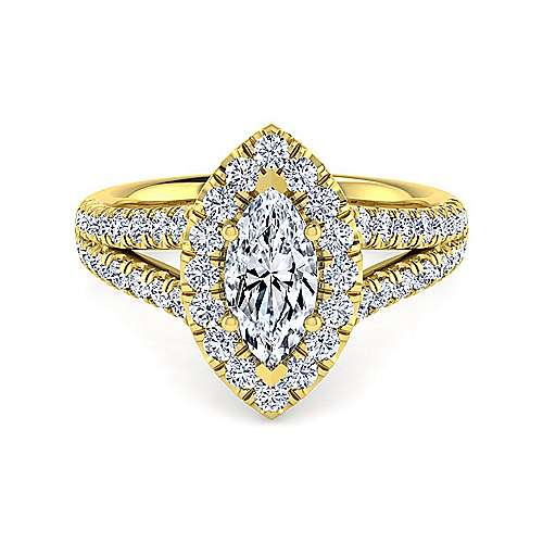 Gabriel - James 14k Yellow Gold Marquise  Halo Engagement Ring