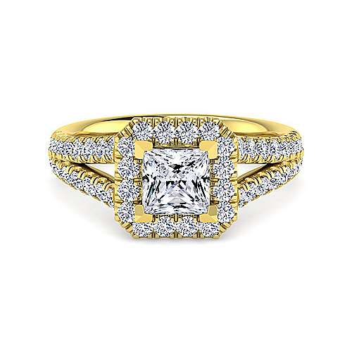 Gabriel - James 14k Yellow Gold Princess Cut Halo Engagement Ring