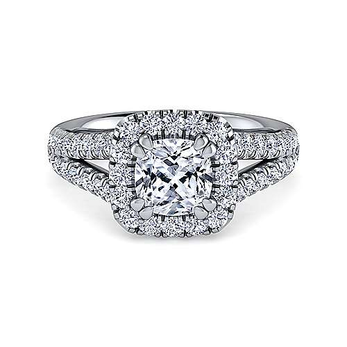 Gabriel - James Platinum Cushion Cut Halo Engagement Ring